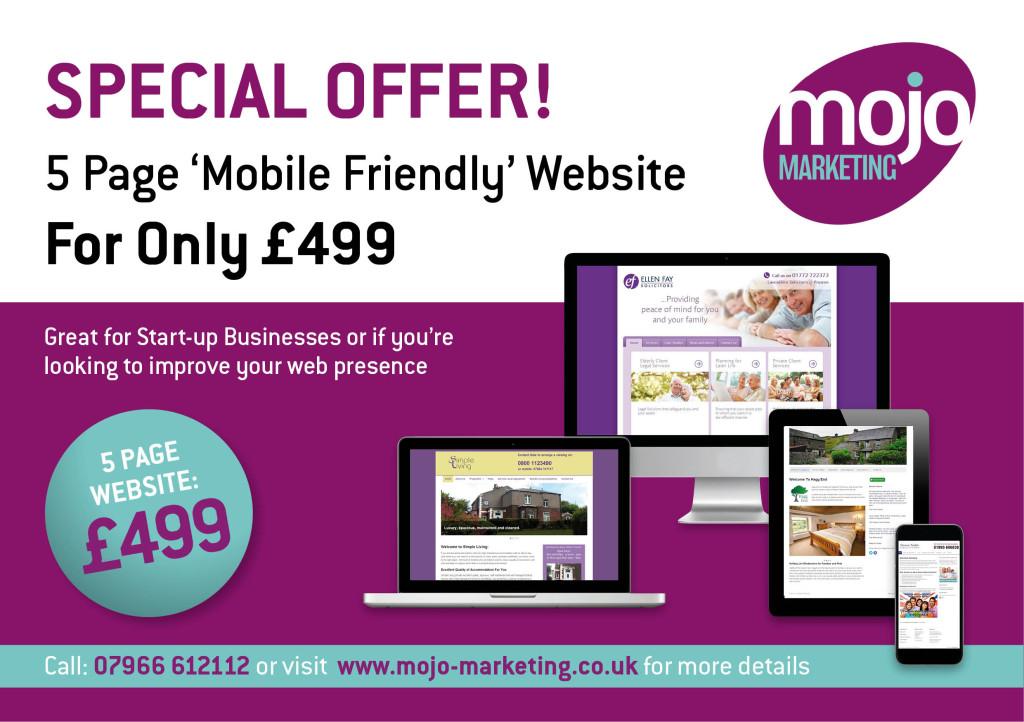 Website Design Special Offer | Mojo Marketing | Only £499